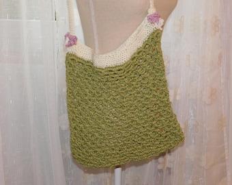 Cotton hand crocheted shoulder bag