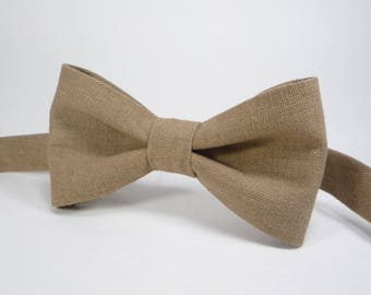 Brown bow ties brown linen bow tie mens bowtie in brown adult bow tie toddler bow tie boys brown bow tie newborn bowtie rustic bowtie
