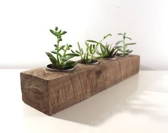 "18"" Reclaimed Wood Succulent Planter, Rustic Home Decor, Herb Garden Table Center Piece"