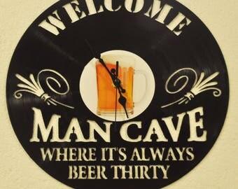 Man cave vinyl record clock *FREE SHIPPING*