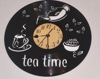 Tea lovers vinyl record clock *FREE SHIPPING*