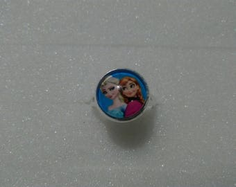 Snow Queen glass cabochon Adjustable ring