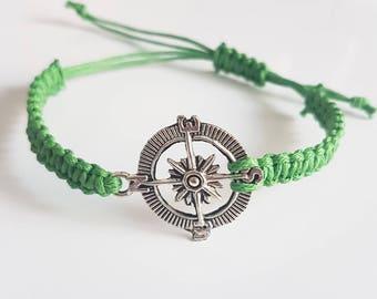 Nautical compass braid bracelet