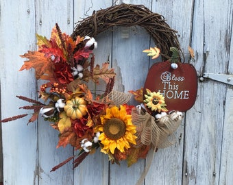 Bless This Home Fall Grapevine Wreath, Fall Cotton Pods, Autumn Door Hanger, Sunflower and Pumpkin Wreath , Fall Farmhouse Wreath