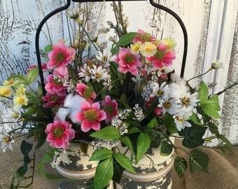 A Double Primitive Tin Container Floral Arrangement, Spring Arrangement, Summer Arrangement, Wedding Centerpiece, Easter Centerpiece