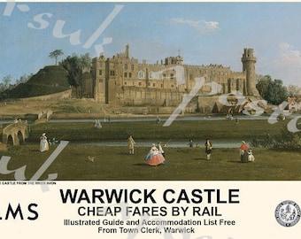 Vintage Style Railway Poster Warwick Castle A3/A2 Print