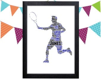 Personalized Gift Tennis Gift Tennis Player Gift Racket Sports Wall Art Wall Prints Wall Art Wall Decor Personalised Gift Wall Art Prints