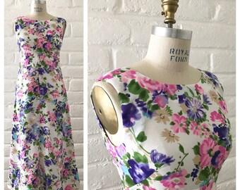 Vintage floral maxi dress circa 60's/70's - size xs