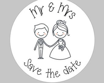Mr & Mrs wedding stickers / matte stickers / Wedding favour stickers / Save the date stickers