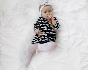 Black and white organic cotton dress