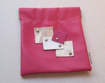 Pink-Squared Genuine Leather Pouch