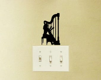 Harp Music Decal Vinyl Sticker Playing Girl Classical Music Instrument Laptop MacBook Light Switch