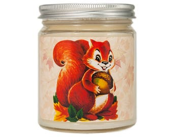 Fall Candle, Scented Candle, Thanksgiving Candle, Container Candle, Soy Candle, Autumn Candle, Fall Decor,  Hostess Gift, Vintage Squirrel