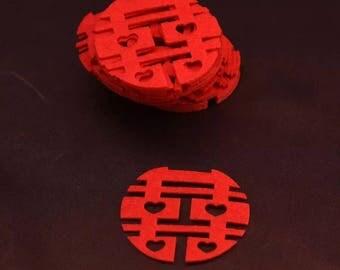 90 Chinese Wedding Double Happiness Embellishment Confetti