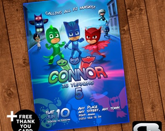 PJ Mask Invitation with FREE Thank You Card - Invite - PJ Mask Birthday Invitation - Birthday Party - Digital File Download