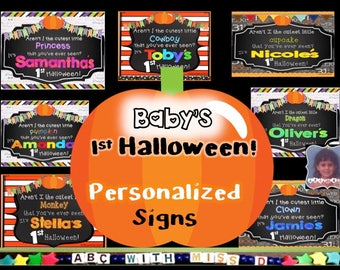 Baby's First Halloween! Personalized Sign for Photo Prop, Scrapbook, Baby Book-Customized for Your Child-Printable 1st Halloween Baby Sign
