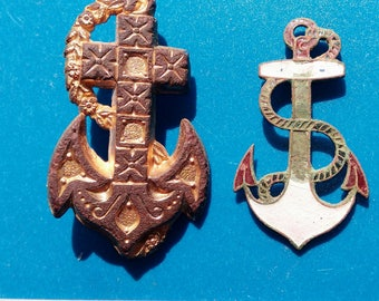 Two old brass brooch anchors 1920-1930 years