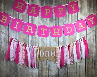 Custom Birthday Party Package, Birthday Package Girl, First Birthday Package, Pink Gold High Chair Banner, Happy Birthday Banner