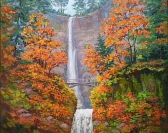Orange tree painting Fall landscape oil paintings on canvas Autumn Waterfall painting Nature wall art Original artwork Multnomah falls