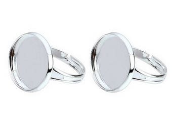12mm Adjustable Silver Ring Blanks - Cabochon Ring Settings - (5)
