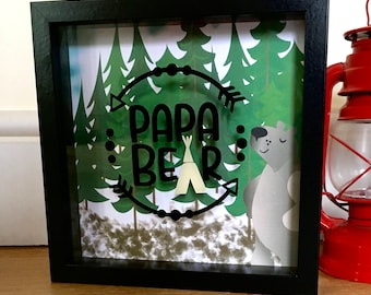 Papa bear shadow box frame. Black frame. Bear art. Gifts for him. Fathers day. Dad. Birthday gift for him. Brown bear. Bear art. Framed art