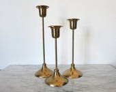 Vintage Brass Candlesticks, Candle Lover Gift, Wedding Candle, Tiered Candlesticks, Candle Holder Lot, Wedding Candlestick, Boho Chic
