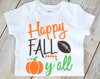 Happy Fall Y'all - Thanksgiving-Fall-Turkey-Baby Girl or Boy Onesie-Thanksgiving Onesie-Pumpkin-Custom Onesie-Baby Girl Clothing-Football