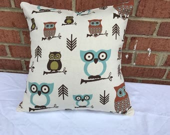 Premium Prints Hooty Owl Village pillow cover. Throw pilow.