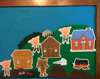 3 Little pigs felt stories set w/scenery// felt board stories three pigs//flannel stories 3 pigs//preschool//kindergarten//educational toy//