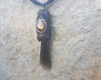 Black Obsidian & Tiger Eye pendant with antique brass ~ hippy accessories ~ crystal neck ~ boho ~