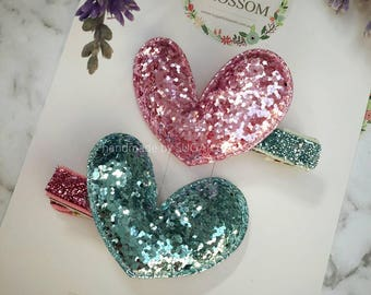 Set of 2 Heart glitter padded applique hair clip - hair accessories - baby hair clips - girls hair clips - handmade by sugrblossom