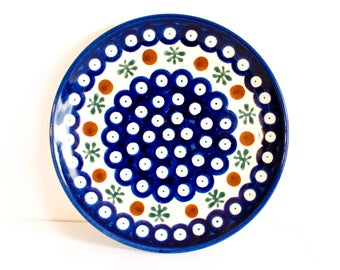 Polish Pottery Dessert/Bread Plate, Boleslawiec Pottery by BigMuddyVintageShop