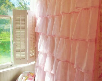 Pink Organdy Ruffled Shower Curtain Extra Long. Perfect For A Shabby Chic  Or Cottage Decor