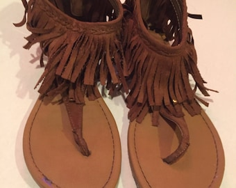 Fringed hippie boho sandals thong sandal open toe sandal