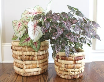 Coil Basket Planters, Wrapped Leaf Baskets, Boho Planter