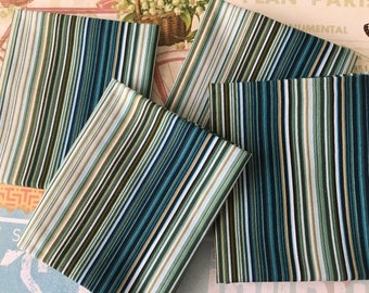Timeless Treasures Fabric Fat Quarter Green and Teal Fat Quarter Striped Cotton Fabric Quilt Cotton Fabric Destash Cotton Fat Quarter