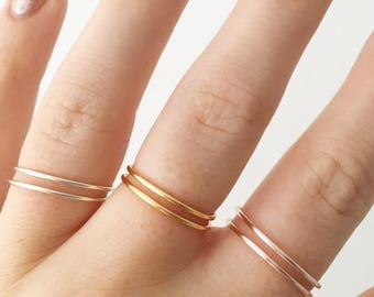 Rose Gold/Gold/Silver Band Ring • Layering ring • Stacking ring • Wire ring • Band •