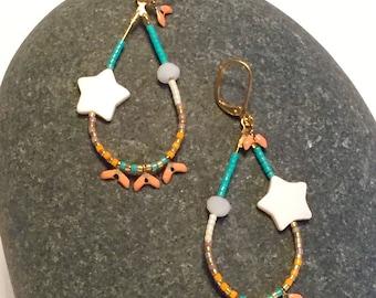 Earrings star mother of Pearl