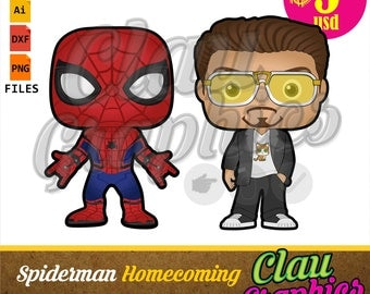Spiderman Homecoming SVG patterns, DXF files and PNG images, receive two models for papercraft projects and more Tony Stark and Peter Parker