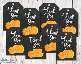 PRINTABLE Fall Thank You Tags, Pumpkin Thank You Tags, Halloween Thank You Tags, Fall Festival, Halloween Party, Fall Party INSTANT DOWNLOAD