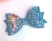 Glitter bow mermaid hair accessories hair bow clips hair clips blue bows