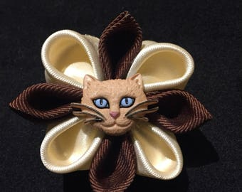 Free shipping! Brown and Cream Cat Hair Bow