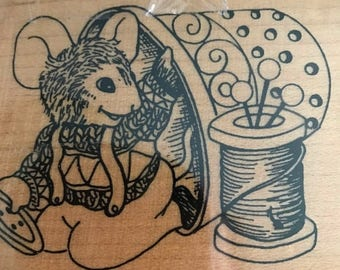 """CLEARANCE Vintage Mouse with thimble and thread stamp 4"""" x 3"""""""