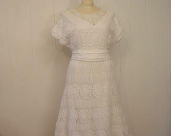 Vintage dress, 1970s dress, prarie dress, lace dress, vintage clothing, Medium