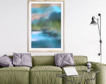 Abstract watercolor 24x36 print Abstract landscape painting Blue and green painting Watercolor forest Watercolor meadow Large wall art