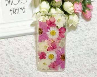 Pressed flowers Silicone cellphone case for iphone 8 plus iphone 7 plus case  purple white flowers
