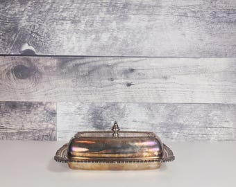 Vintage Viking Canada silver plated butter dish
