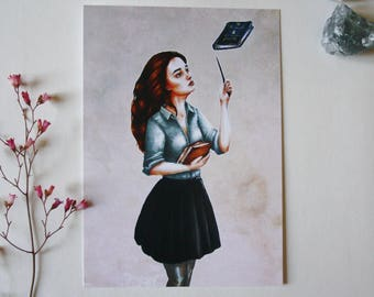 Art drawing print, Harry Potter, Postcard, illustration hermione granger