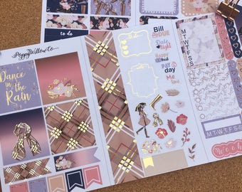 Fall Raindrops Light Gold Foiled Travellers Note Book Sticker Set | Pocket Sized