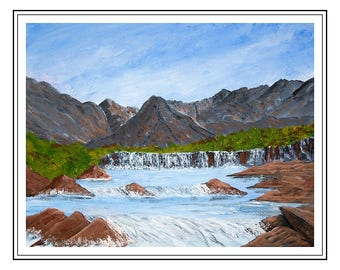 "Original acrylic painting of Fairy Pools, Isle of Skye, Scottish Highlands,  painting size is 15"" x 12"" , mount size is 500mm x 400mm"